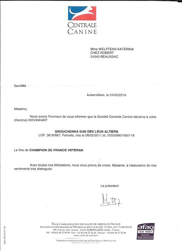 Grouchenka Sun des Leus Altiers Champion de France Vétéran